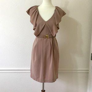 H&M Sand Satin Feel Ruffle Sleeve Dress
